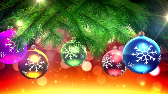 Christmas tree and decorations loop video