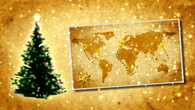 Christmas tree and map of World on the postcard.Retro style. video