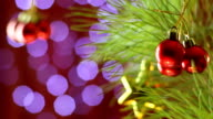 Christmas Tree And Ornaments,  Blurred Bokeh video