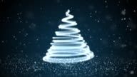 Christmas Tree Dark Blue Background Loopable video