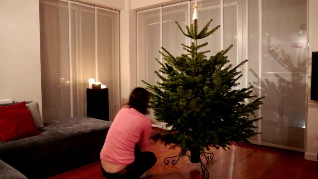 christmas tree decorating timelapse video