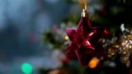 Christmas Tree Decorations Illuminated and Winter Snowstorm video