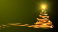 Christmas Tree From Gold Tapes Over Green Background video