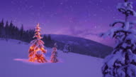 Christmas tree glowing on a snowy mountain side video