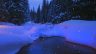 Christmas tree glowing outdoors near a forest stream video