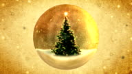 Christmas tree in a crystal ball.Retro style. video