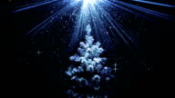 christmas tree in blue light beams loopable animation video