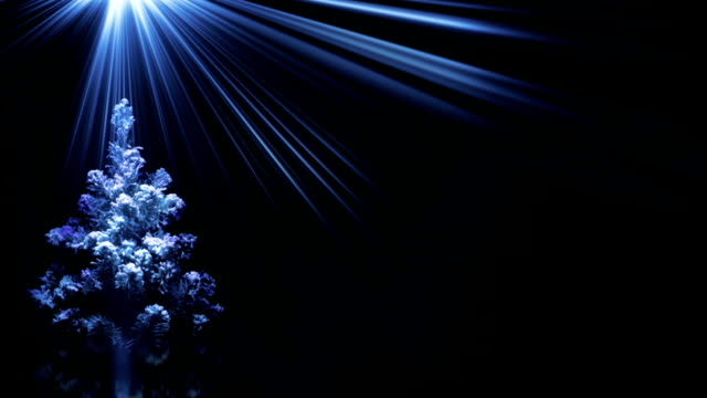 christmas tree in blue light rays loop background video