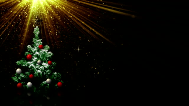 christmas tree in light rays and empty space loop video