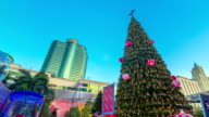 Christmas tree in the shopping center,Time Lapse paning shot video
