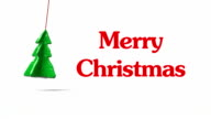 Christmas tree on a rope and inscriptions video