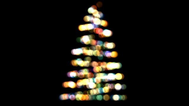 Christmas tree out of focus. video