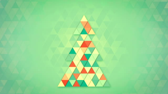 christmas tree shape of colorful triangles loop video