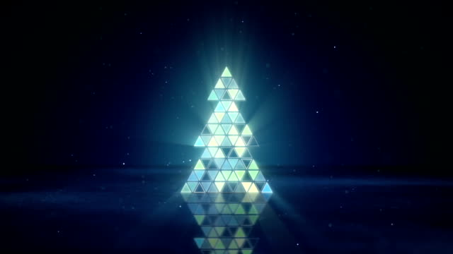 christmas tree shape of flashing triangles loop video
