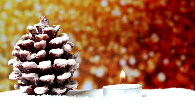 Christmas Tree with candle and glitter background video