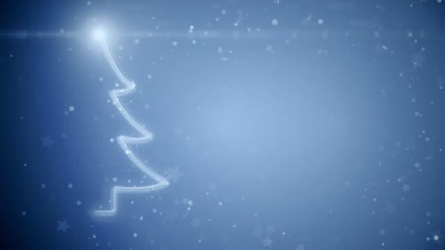 Christmas tree with light snowflakes. video