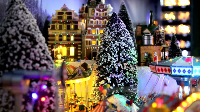 christmas village scene, toys decorations in market store video