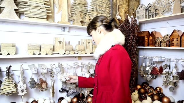 Christmas woman shopping decoration video