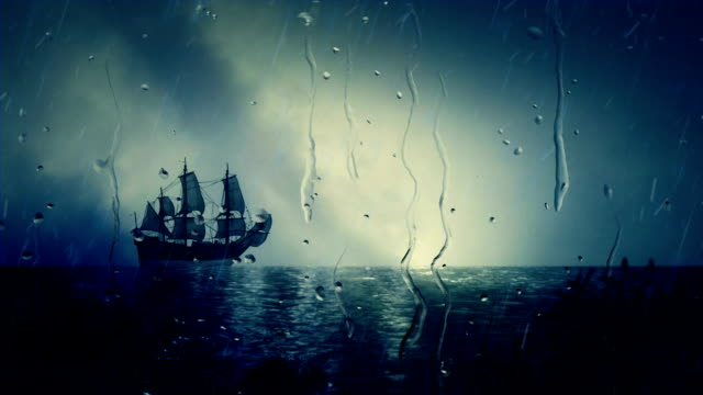 Christopher Columbus Santa Maria Sailing Ship Docking Close to Shore Under Rain video