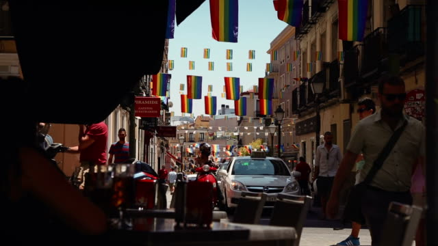 Chueca district, with Rainbow Flag in Madrid video