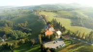 AERIAL Church And Houses On Top Of Vineyards video