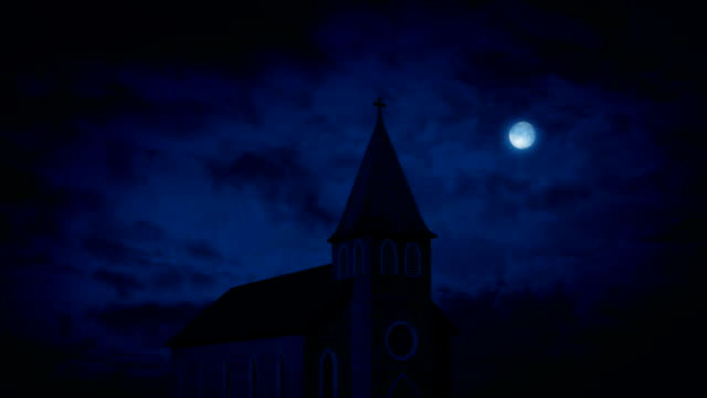 Church At Night With Full Moon video