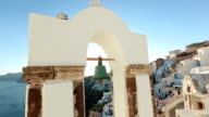 Church bells on Santorini which is one of the famous tourist attraction. Religious building against the sky. video