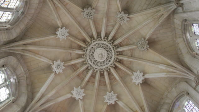 church ceiling in medieval cathedral in Portugal video
