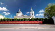 Church of St. James Zebedee in state Sloboda in Yakovoapostolsky lane timelapse hyperlapse, Moscow, Russia video