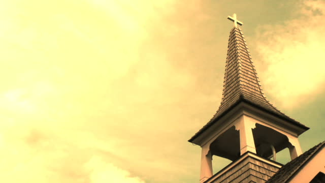 HD: Church Steeple with time lapse clouds video