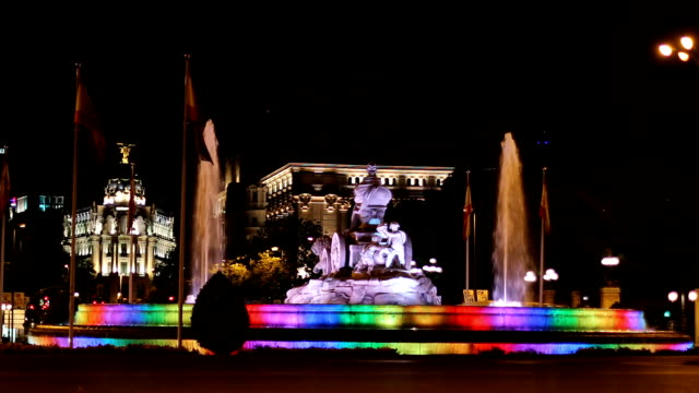 Cibeles fountain iluminated in lgbt symbol colors. World pride 2017 Madrid video