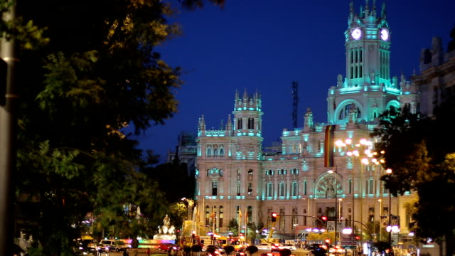Cibeles square and city hall of Madrid  iluminated in rainbow colors video