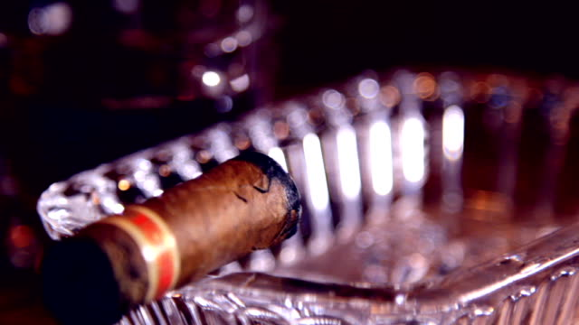Cigar is in the crystal ashtray video