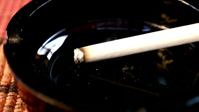 cigarette in ashtray slow motion video