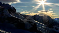 Cima Brenta snow slopes and cliffs, shadows winter time lapse video