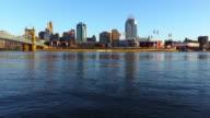Cincinnati skyline along the Ohio River video