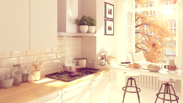 cinemagraph of a nordic kitchen . 3D rendering. autumn concept. hd. loop video