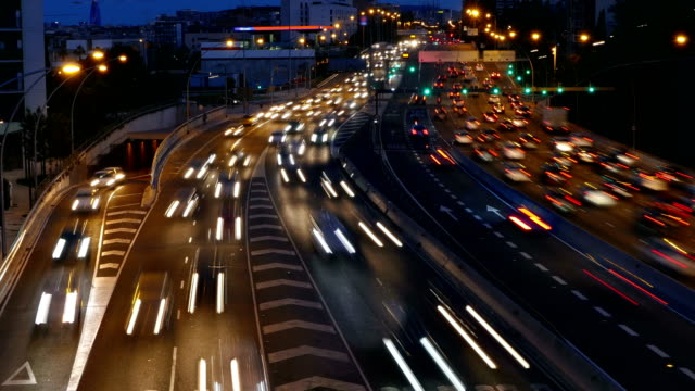 Cinemagraph of traffic scene  at dusk. video