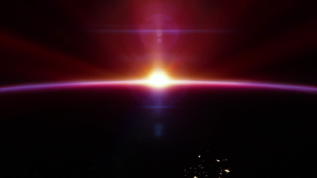 Cinematic red sunrise from space - with city lights 4k video