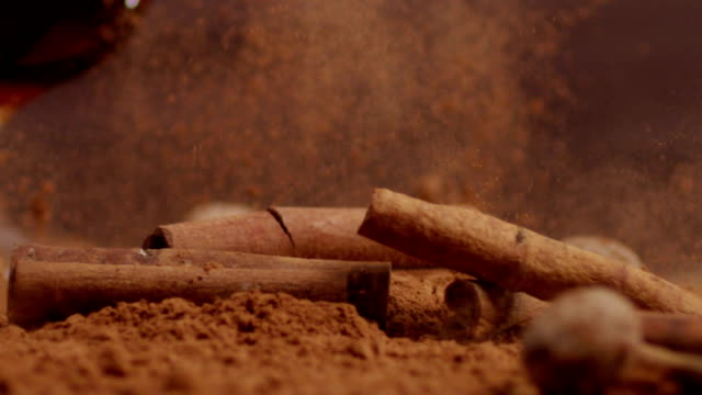 Cinnamon falling Into cacao. Slow motion. With brandy. Shot on RED EPIC Cinema Camera. video