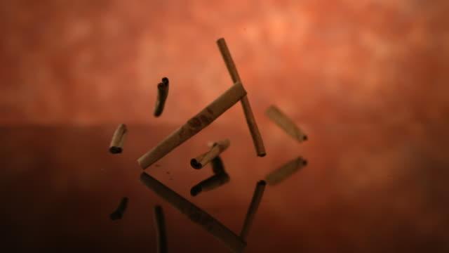 Cinnamon sticks falling, slow motion video