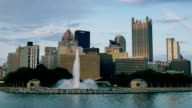 PITTSBURGH, PA - Circa May, 2015 - An evening establishing shot of the iconic fountain at The Point in downtown Pittsburgh, PA. video