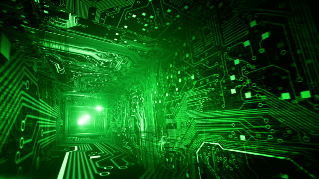 Circuit Board Tunnel (green, golden ratio) - Loop video