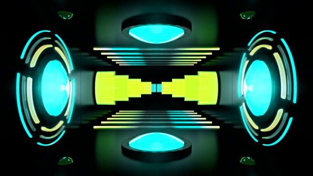 Circular lights and neon tubes in room with spinning telescope in a seamless loop video