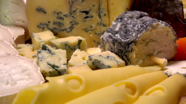 Circular movement through a variety of French cheeses video