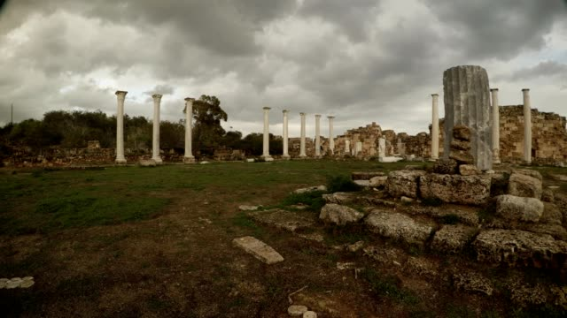 Circular panorama Colonnade of Roman Agora beautiful cloudly sky antique town Salamis Famagusta video