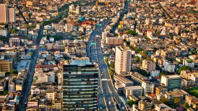 City aerial close up video