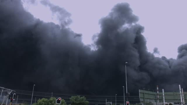 City area engulfed with toxic smoke. video