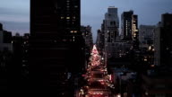 city at night. NYC. new york. skyline. traffic. aerial view video