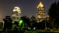 City at night view of Bangkok from Lumpini Park, Thailand video